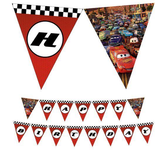 Cars Disney Printable Happy Birthday Banner Banderin Cumpleanos