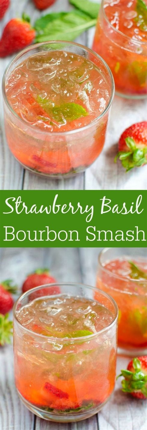 Strawberry Basil Bourbon Smash - juicy strawberries and fresh basil are the perfect pair in this bourbon cocktail recipe! #CocktailRecipes #cocktaildrinks