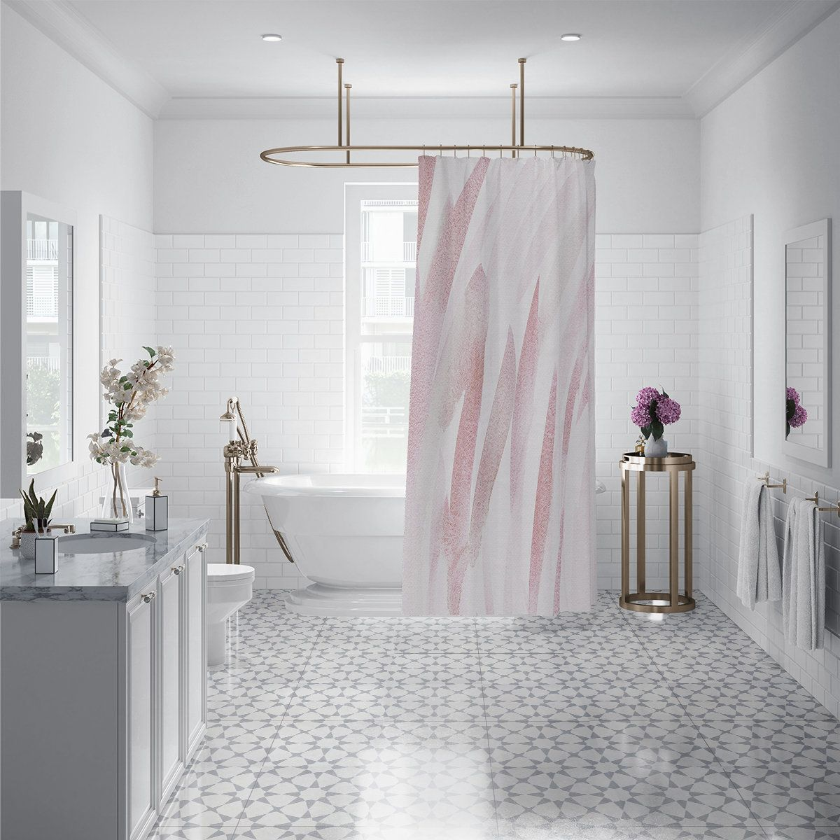 Rose Gold Abstract Brushstroke Fabric Shower Curtain Pastel Bath