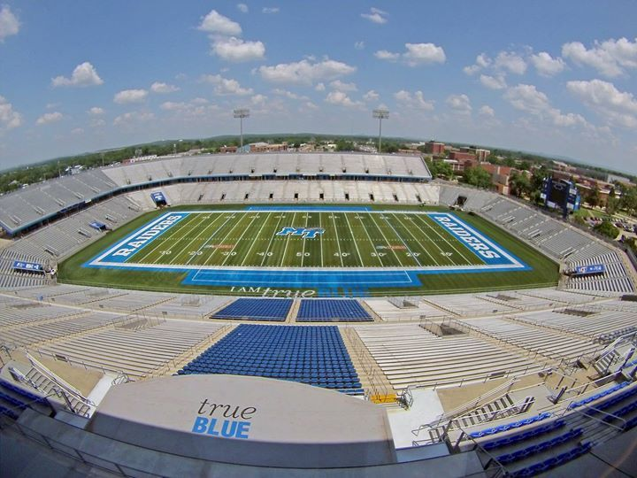 Floyd Stadium Blueraiders Mtsu Trueblue Textbookbrokers Football Stadiums Football Field Stadium