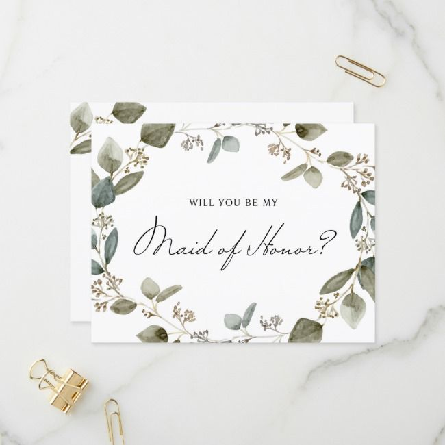 Photo of Seed Eucalyptus Wreath Be My Maid Of Honor Invitation Postcard | Zazzle.com