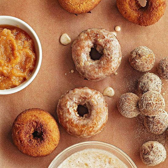 Forget breakfast! Our cinnamon-applesauce doughnuts are good enough for dessert -- especially when served with a side of whipped cream for dipping!/