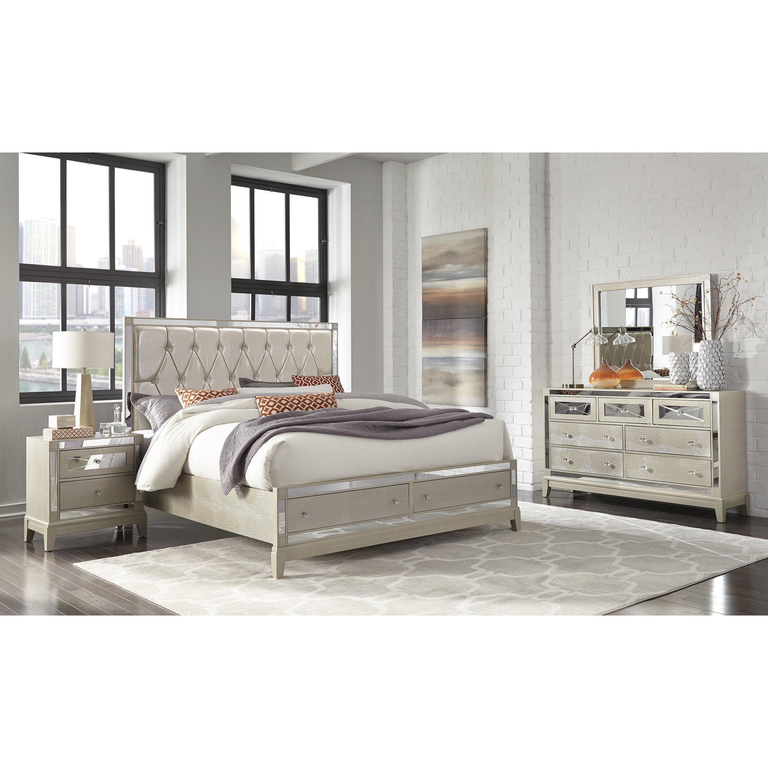 Mirror Storage Bed King bedroom sets, Rustic bedroom