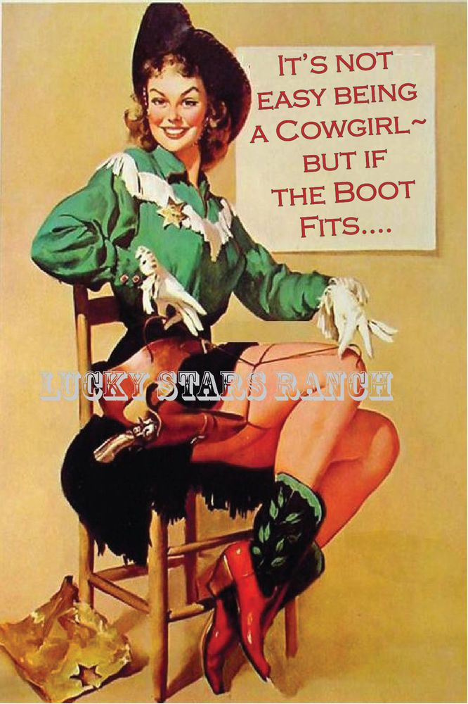 VINTAGE COWGIRL PRINT BLESS YOUR HEART 16X20
