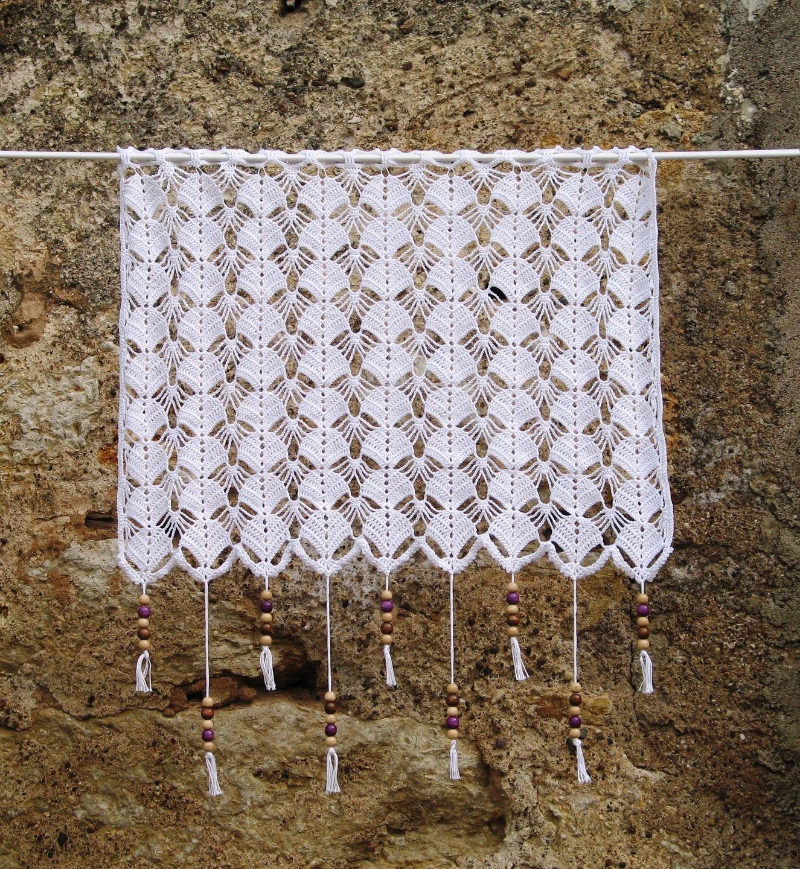 Fr Paire De Rideaux Blancs En Dentelle De Crochet Fait