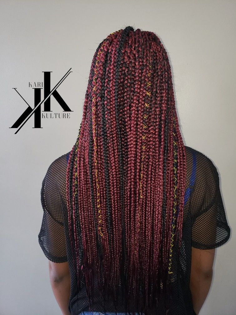 Red Burgundy Box Braids With Natural Hair Gold Accessories