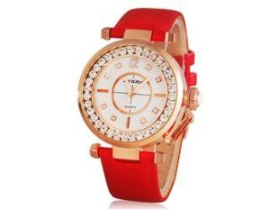 Wisedeal SINOBI Women's Water Resistance Jeweled Analog Watch with Faux Leather Strap (red) null. $13.59