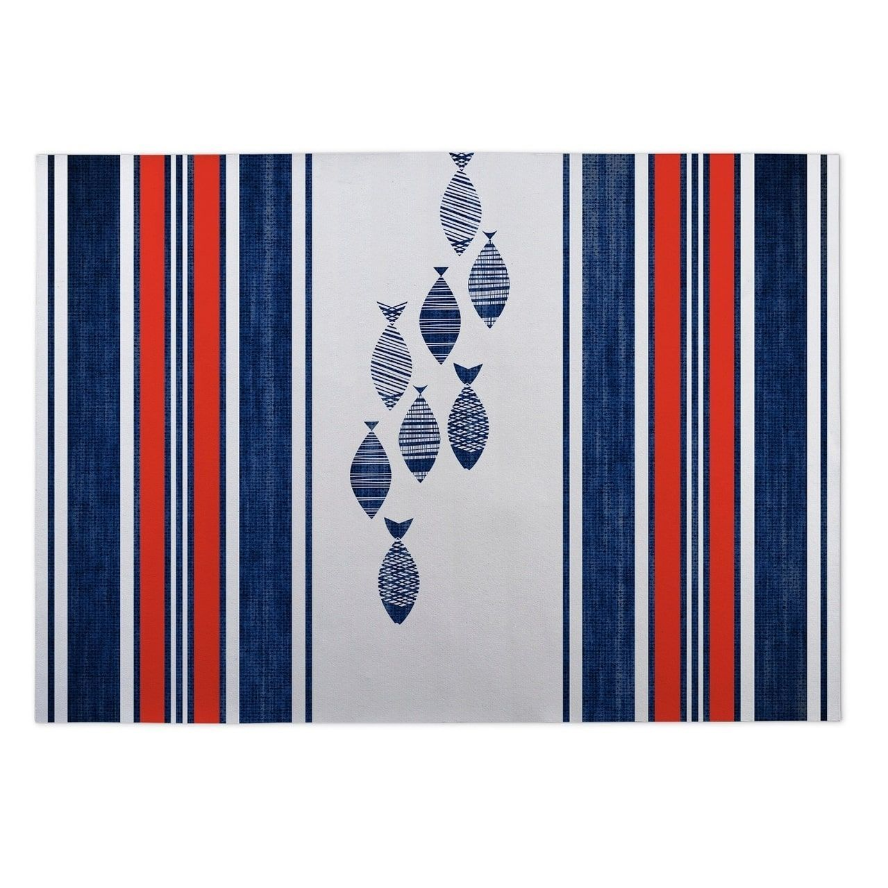 Kavka Designs Blue/Red/White Blue Fish Indoor/Outdoor