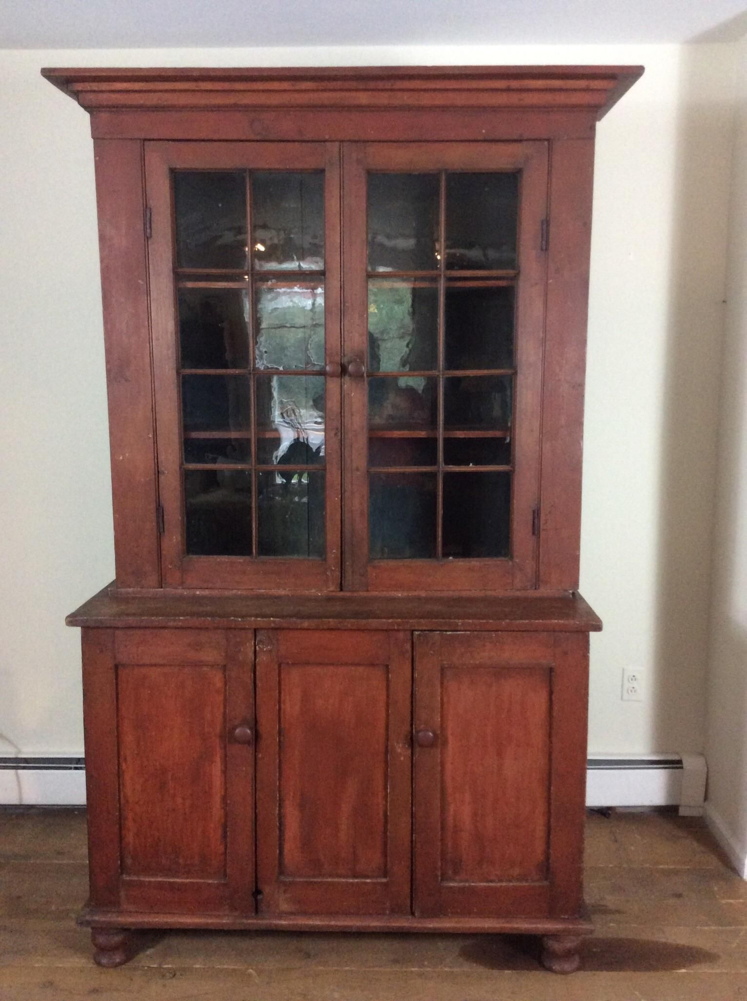19th Century Stepback Cupboard Pa Made Original Paint