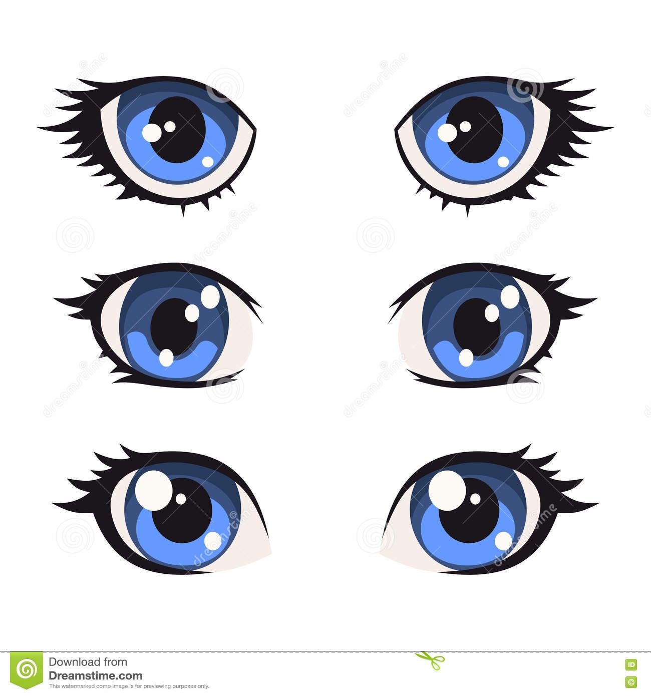 Blue Cartoon Anime Eyes Set Vector Stock Vector Anime Eyes Doll Eyes Doll Face Paint