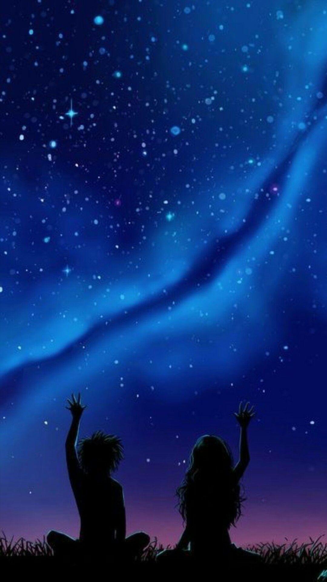 Pin By Mayato Saira On Wallpaper Anime Scenery Sky Anime Night Sky Painting Anime galaxy wallpaper couple