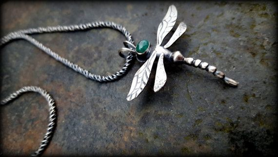 Sterling Silver and gemstone Dragonfly pendant necklace