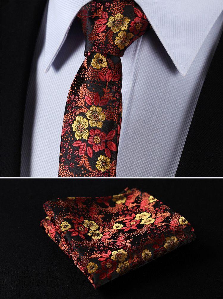 """Necktie - Orange Brown Floral 2.17"""" Silk Skinny Necktie"""
