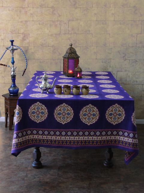 Sultanu0027s Palace ~ Purple Blue Moroccan Vintage Print Tablecloth