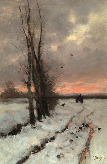 Anton mauve paysage enneig au soleil couchant anton mauve in 2018 pinterest peinture - Paysage enneige dessin ...