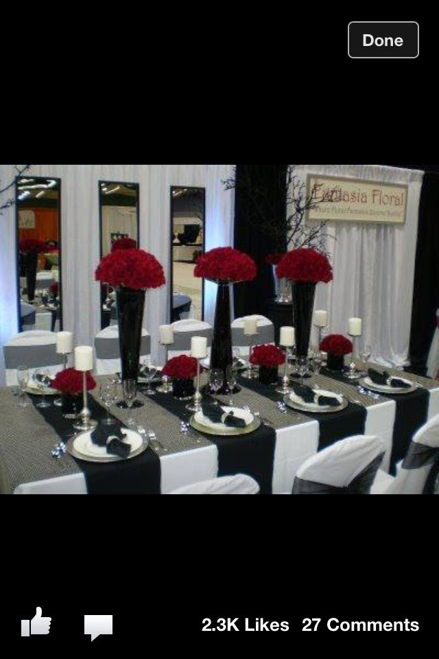 Black white and red wedding table settings. Black white and red wedding table settings. & Red black n white wedding theme u003c3 | Ideas for my wedding ...