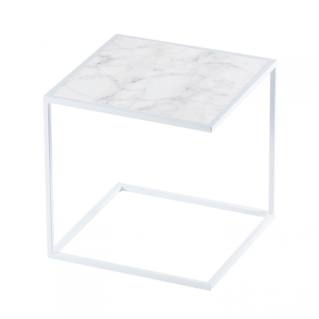 Noa Side Table White Tatkraft Beistelltisch Metall Stahl Weiss Weiss Marmor Beistelltisch Metall Stahlbett Weisser Marmor