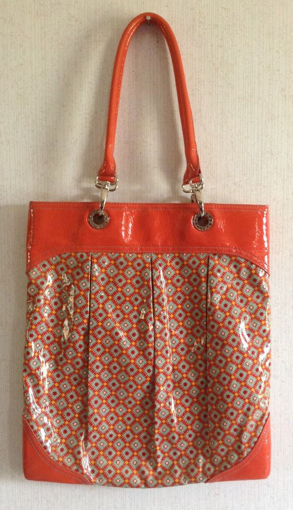 Vera Bradley Paprika Frill Soi Shoulder Tote Bag Vinyl Plastic Orange Retired Verabradley Totesshoppers Womens Tote Shoulder Tote Bag Tote Bag