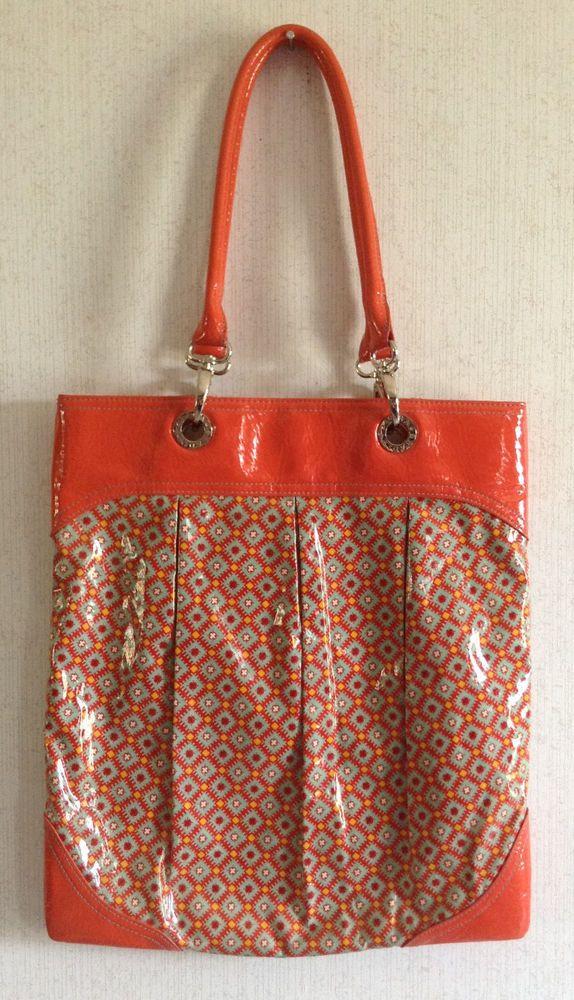 Vera Bradley Paprika Frill SOI Shoulder Tote Bag Vinyl Plastic Orange  Retired  VeraBradley  TotesShoppers ec82a27447