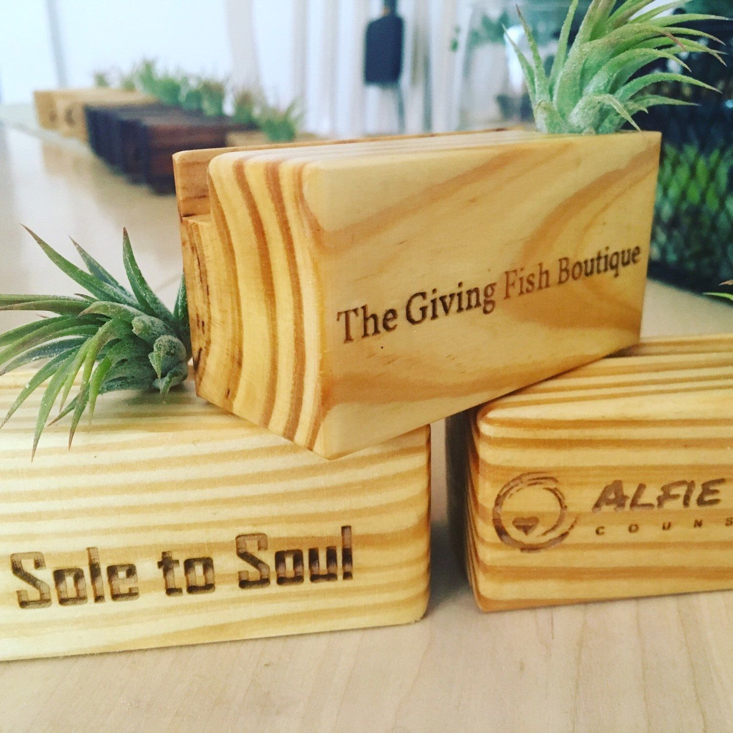 Business card holders with company logos and they come in ...