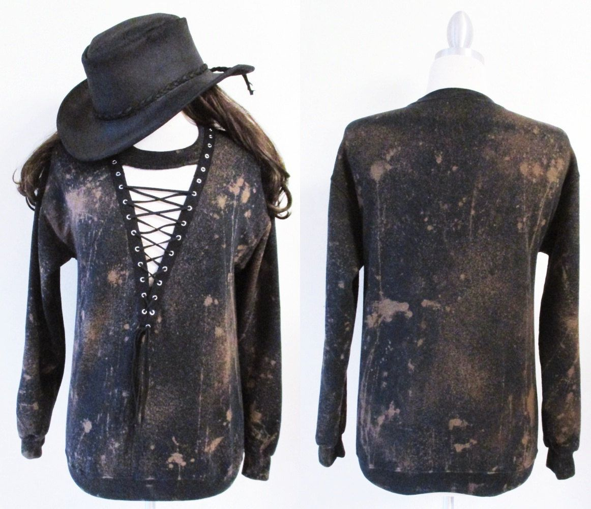 Black lace up bleached sweat shirt dress or tunic S-XL We can custom like this picture with your own shirts .