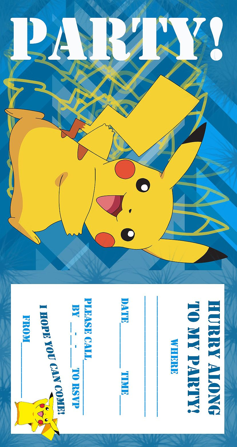 POKEMON COLORING PAGES BIRTHDAY PARTY INVITATION FREE AND PRINTABLE