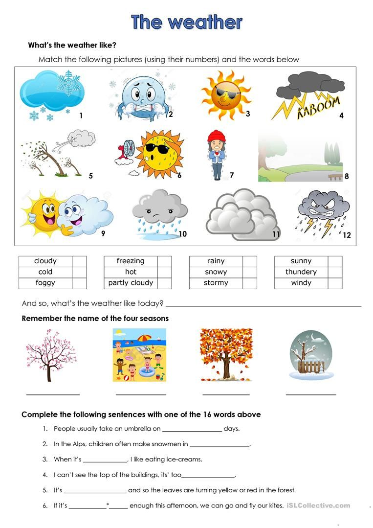 weather Weather worksheets, English worksheets for kids
