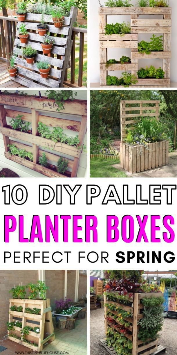 10 Fun DIY Wood Pallet Planter Boxes - This Tiny Blue House
