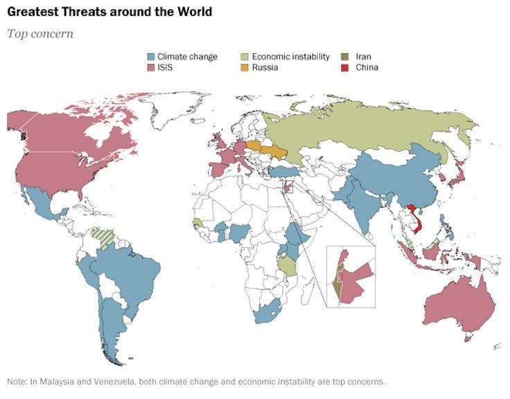 This map shows what different countries view as the greatest threat this map shows what different countries view as the greatest threat to the world gumiabroncs Gallery