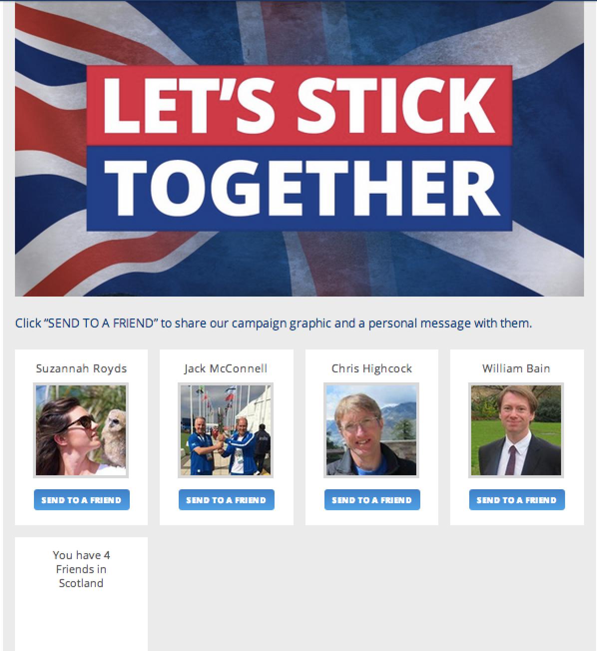 Conservatives' let's stick together app for Scotland Referendum