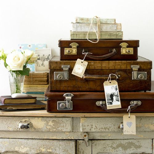 We love this look at Chic-osity. Collect some various sized old suitcases. Stack them one on top each other and attach some old luggage labels with nice ribbons . And ta dah.. Beautiful stunning storage. Theres a collection of fantastic luggage suitcases in our online shop www.chic-osity.co.uk due to launch very soon. Sign up on the web page for news!