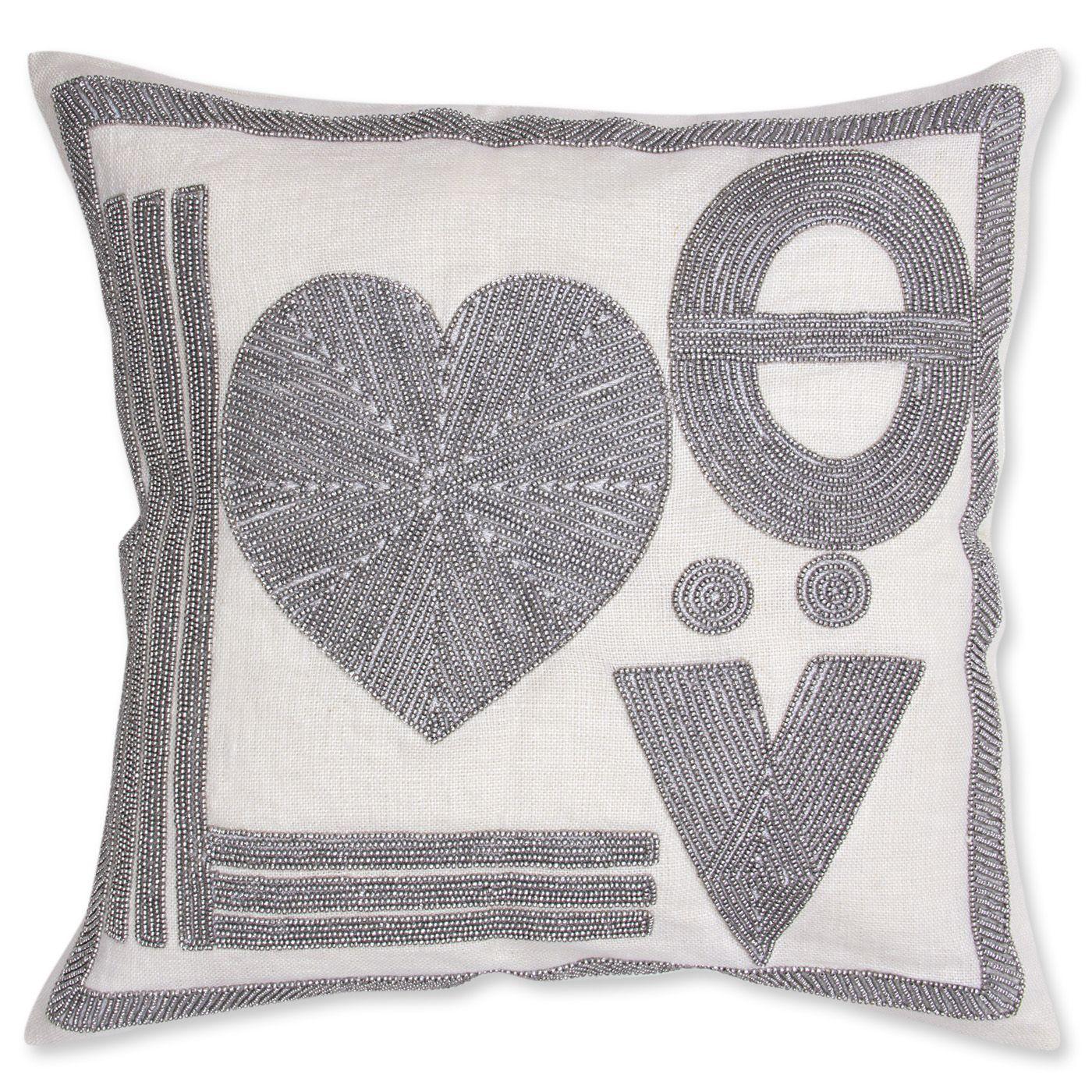 jonathan adler love beaded linen throw pillow  on sale  - jonathan adler love beaded linen throw pillow  on sale