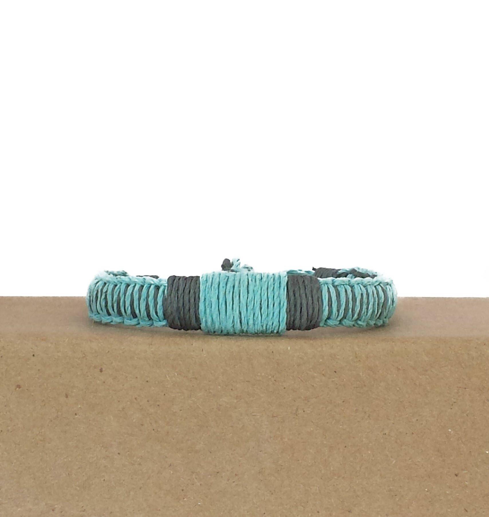 Blue hemp cord bracelet for men gray bracelet adjustable