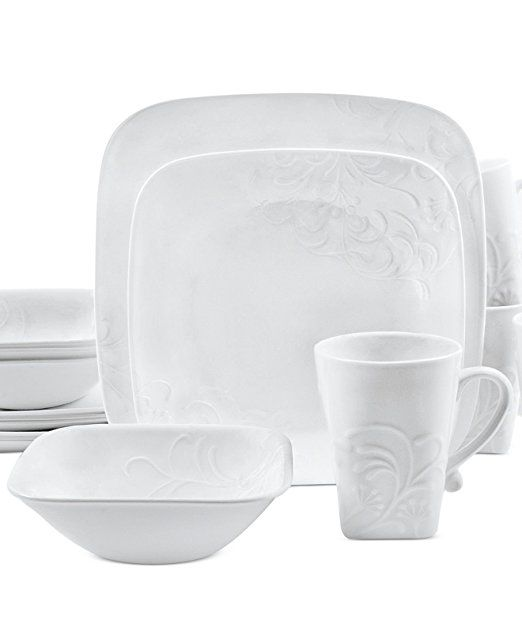 Amazon.com | Corelle Boutique Cherish Embossed Square 16-Piece Set White Dinnerware Square Dishes Stackable And Lightweight Dishwasher Freezer Oven And ...  sc 1 st  Pinterest & Amazon.com | Corelle Boutique Cherish Embossed Square 16-Piece Set ...