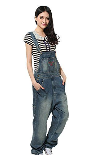 Ace Womens Boyfriend Fashion Relax Jeans Overalls Long Pants Plus Size 2XL Blue *** Check out this great product.