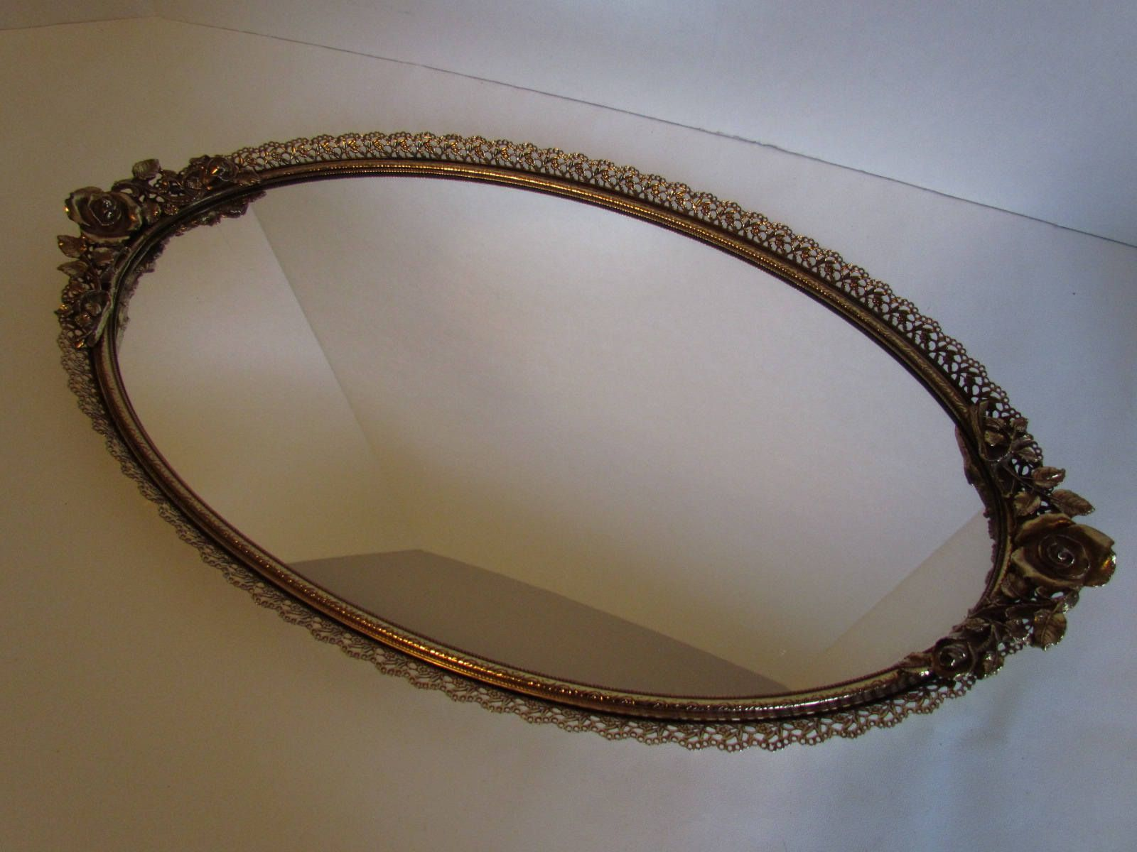 Vintage Gold Oval Matson Vanity Mirror Hollywood Regency