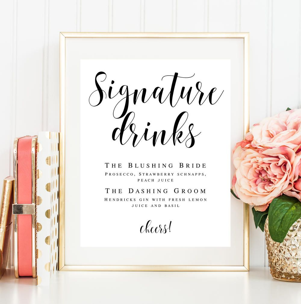 Signature Drink Sign Download Editable Template Wedding