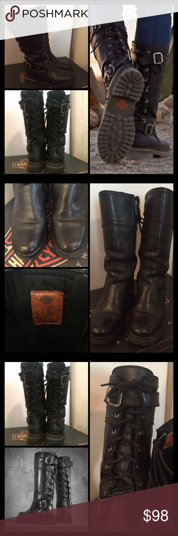 """SOLDOUTALEXA BACK LACED BIKER BOOT $188 Retail + Tax  Look great on or off the bike!  -Full grain leather upper and rubber outsole -Full length cushion sock lining -Goodyear welt construction -YKK locking inside zipper -Lace-up back -Shaft height: 12.5""""; Heel height: 1.5"""" -Price reflects condition--signs of wear   2+ BUNDLE=SAVE  ‼️NO TRADES   Brand Items Authentic   ✈️ Ship Same Day--Purchase By 2PM PST   USE BLUE OFFER BUTTON TO NEGOTIATE   ✔️ Ask Questions Not Answered In…"""