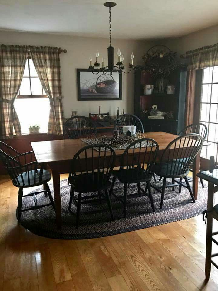 Plaid Curtains Black Chairs Wood Floor Braided Rugs Candles Cinnamon Spice Of Course Country Dining Rooms Farmhouse Dining Room Luxury Dining Room