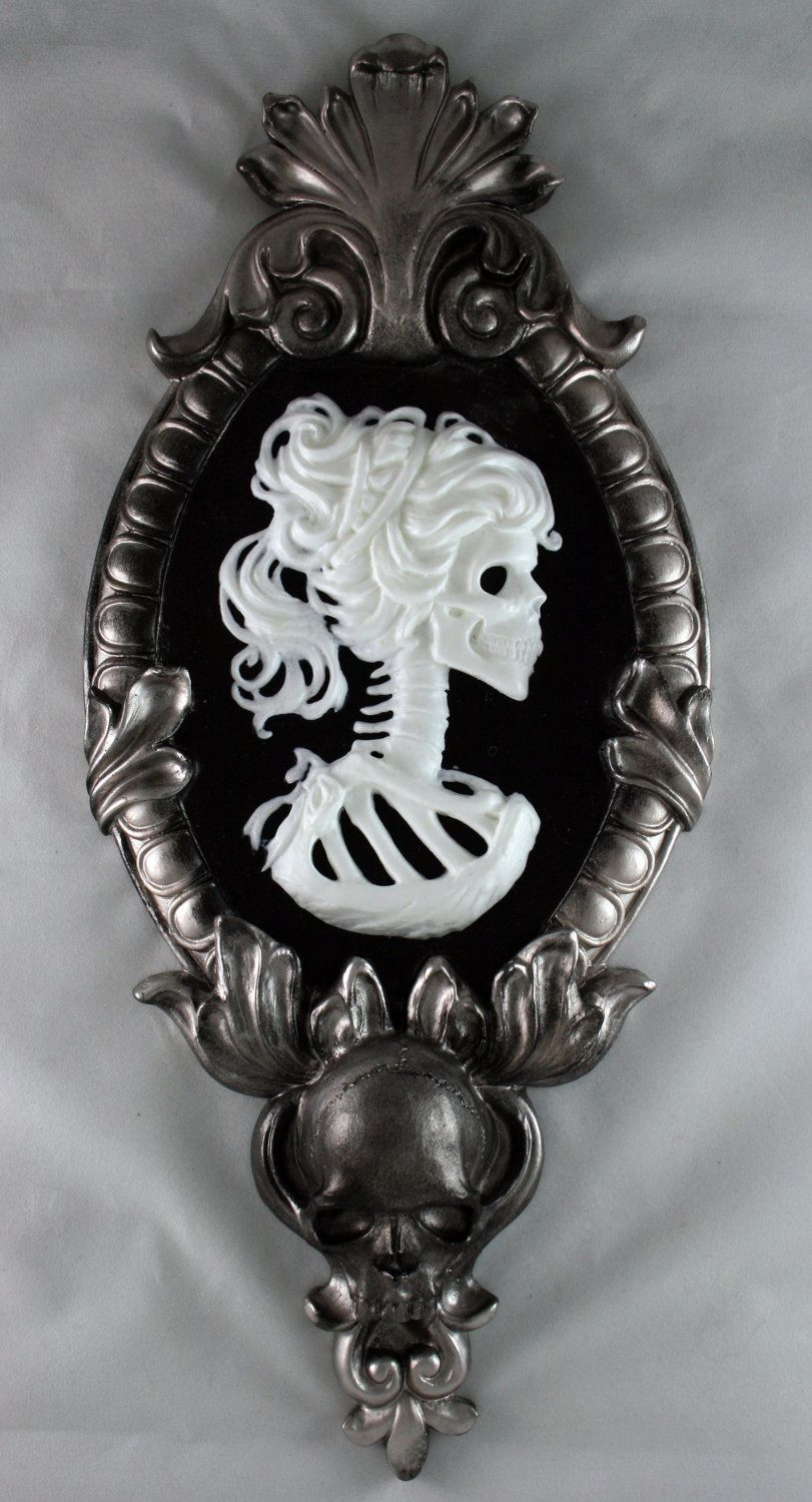 Gothic Victorian Lady Skeleton Cameo In Silver Tone Frame