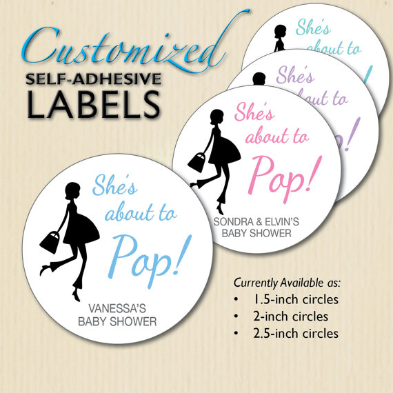 Custom Shes About To Pop Popcorn Box Stickers Lollipop Label Baby Shower Favors Soda Rea