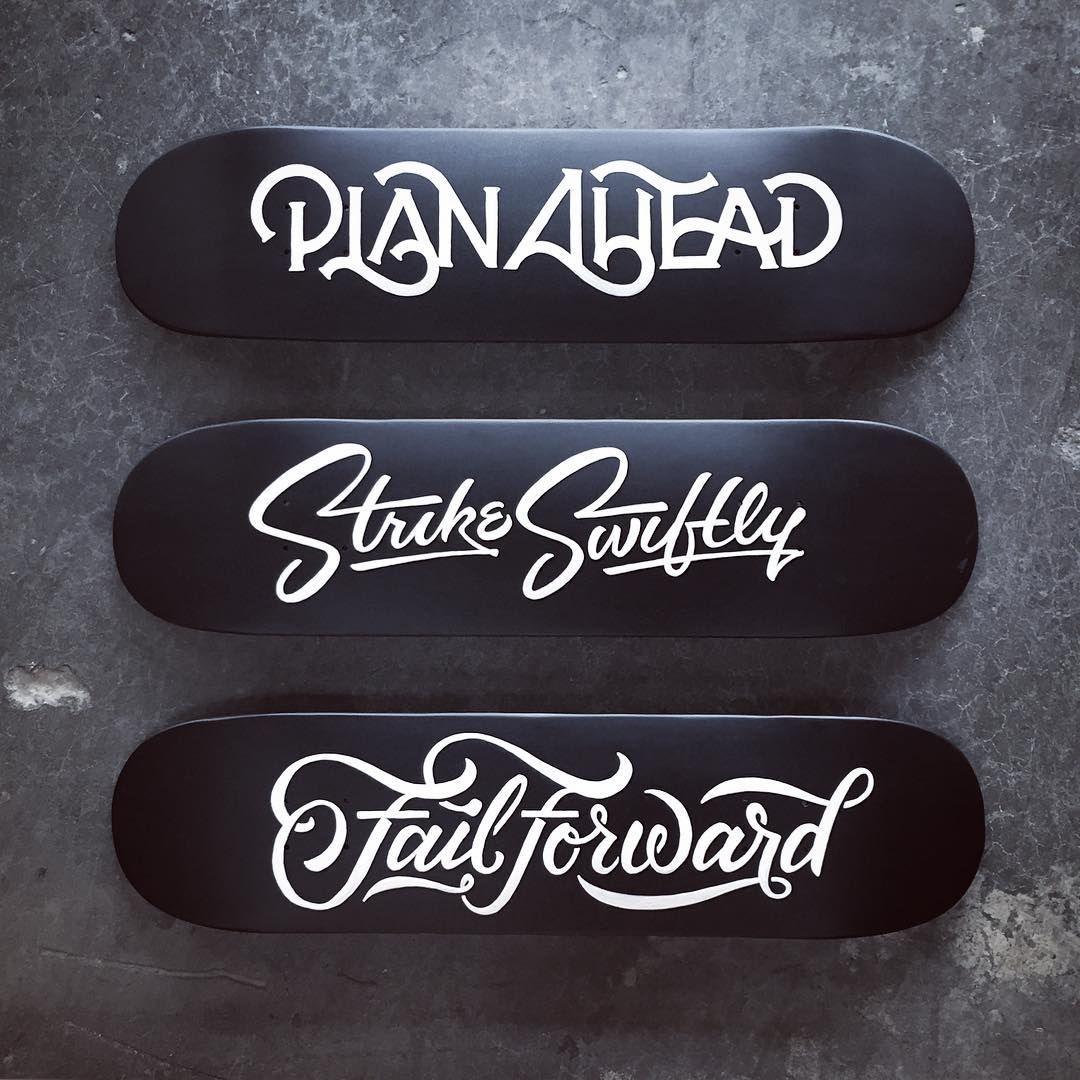 Finally hanging my hand painted decks. I didn't originally create them as a series, but I'm really digging this triptych! #planahead #strikeswiftly #failforward