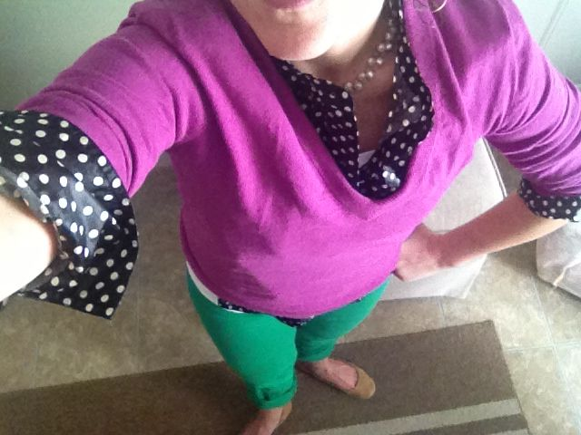 Thank you, Santa- all JCrew- green matchstick jeans- polka dot tunic and eggplant v- neck:) yes, I wear flats in 30 feet of snow- boots look terrible on this shorty!