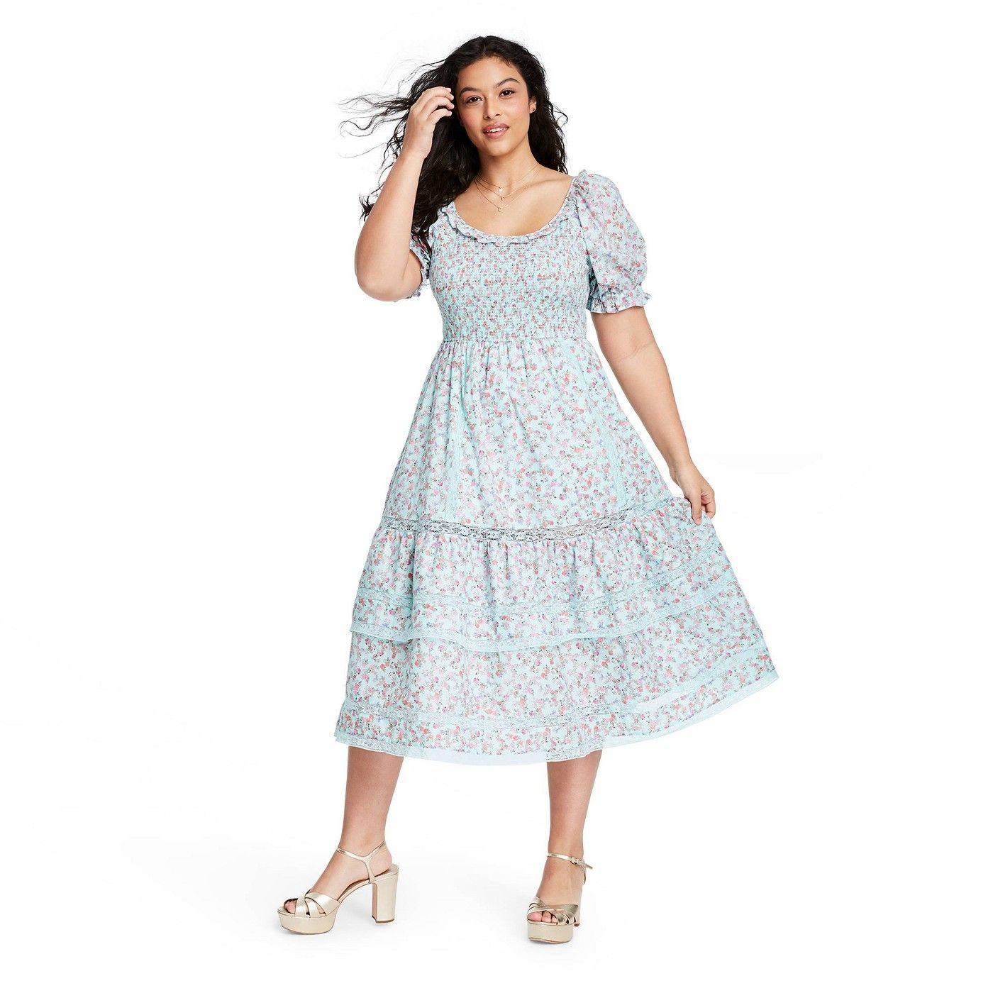 Women S Celeste Smocked Puff Sleeve Dress Loveshackfancy For Target Regular Plus Light Blue Sponsor Puffed Sleeves Dress Midi Dress With Sleeves Dresses [ 1400 x 1400 Pixel ]