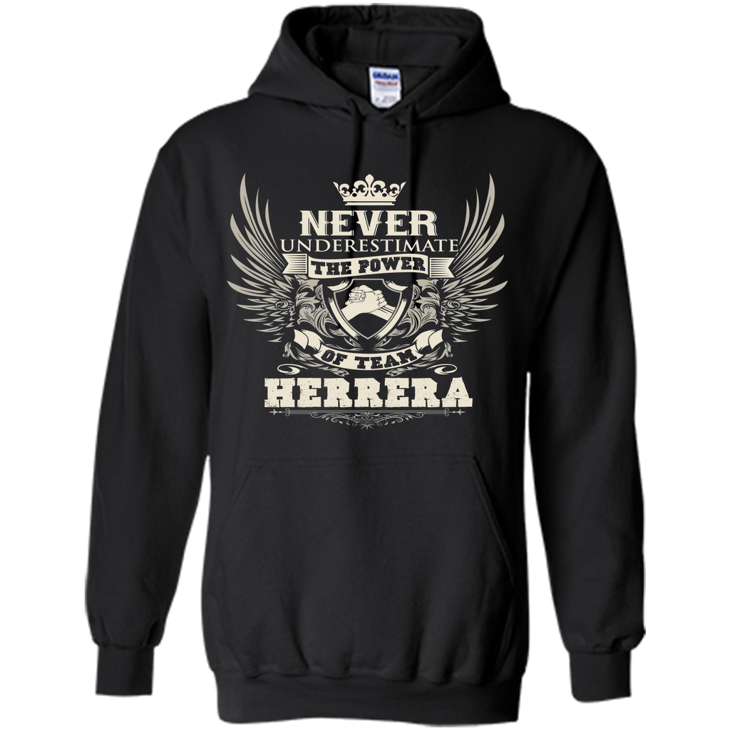 "#Never Underestimate The Power Of Team Herrera T Shirts<br/>                 <div class=""innercontent"">Never Underestimate The Power Of Team Herrera T Shirts 100% Cotton. Imported. Machine wash cold with like colors, dry low heat. Lightweight, Classic fit, Double-needle sleeve and bottom hem, Unisex sizing; consult size chart for details, Roomy Unisex Fit. Double needle stitching; Pouch pocket, Air jet yarn creates a smooth, low-pill surface. Ladies' fit with shorter body length and tapered…"