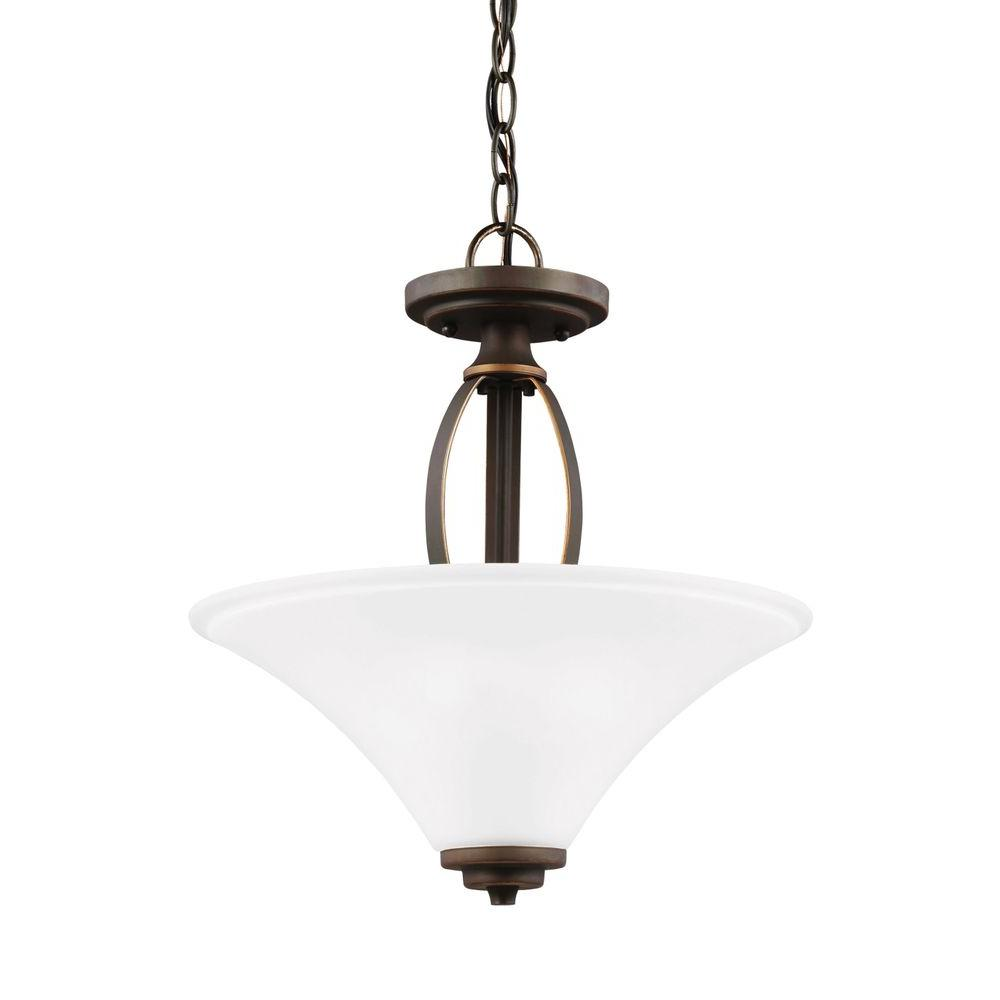 Sea Gull Lighting Metcalf. 2-Light Autumn Bronze Semi Flush Mount