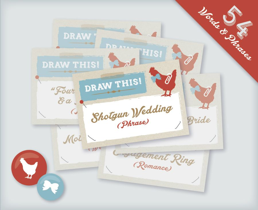 Chicks And Bows Printable Hen Party Drawing Game Cards