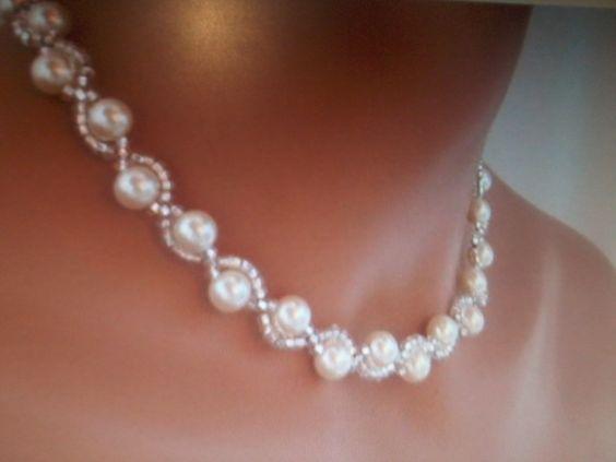 collier perle blanche ras de cou