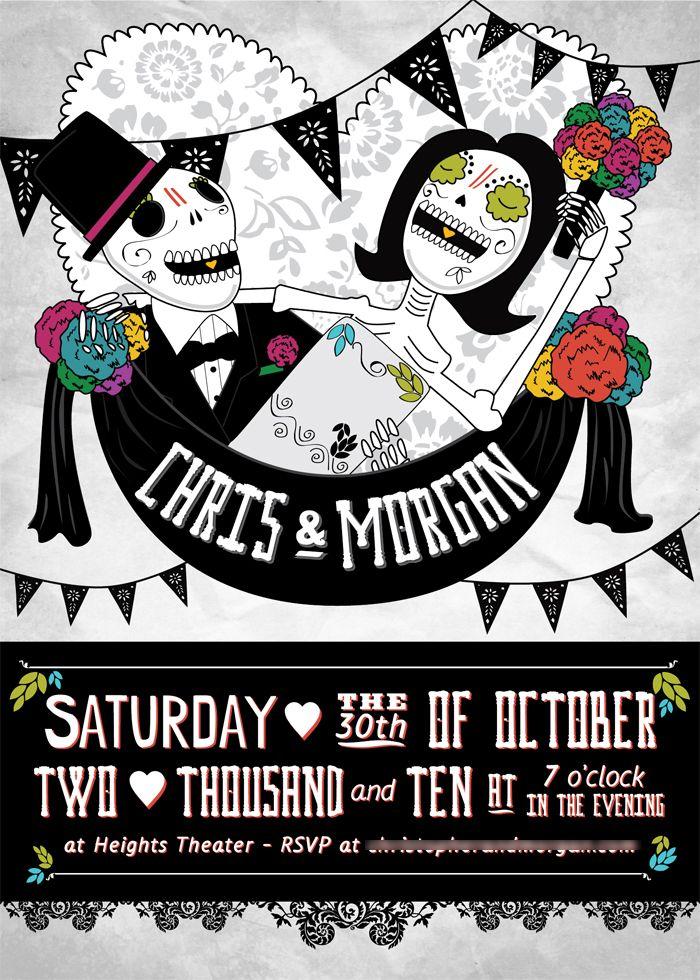 Poster-inspired Día de los Muertos wedding invitation. I had a lot ...