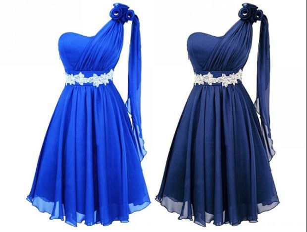 Royal Blue Bridesmaid Dress Dark Short Beaded Rhinestone Prom Evening One Shoulder